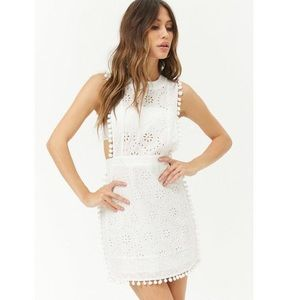 Forever 21 cream eyelet Pom Pom apron dress NWT